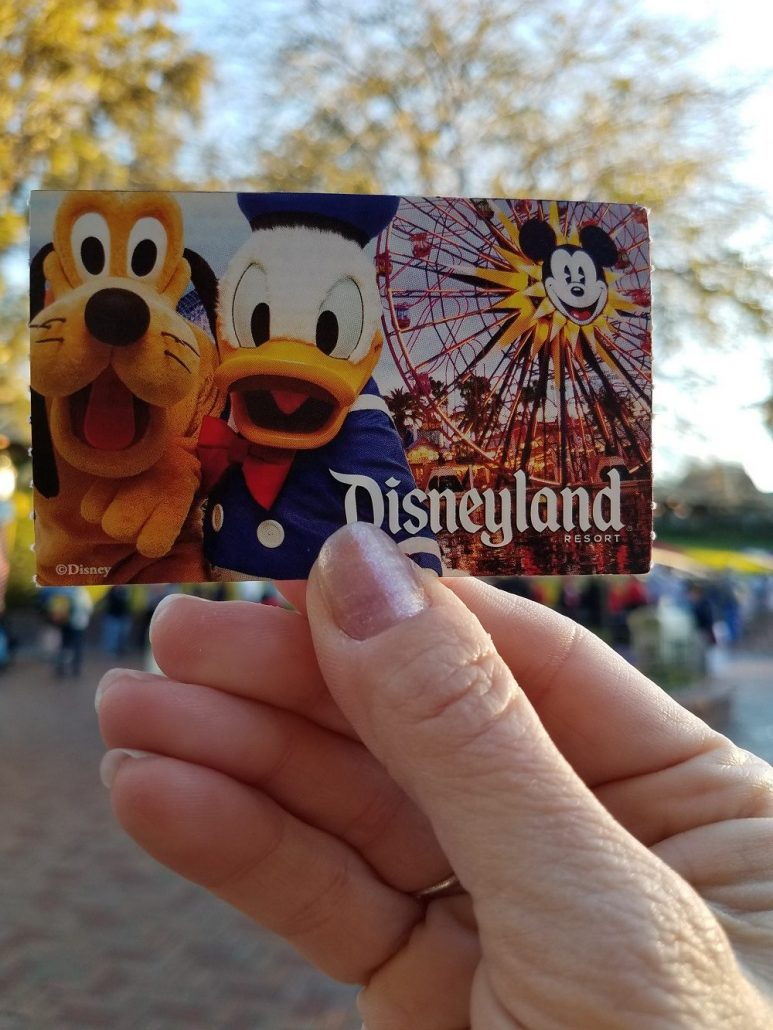 Front of Disneyland printed paper ticket