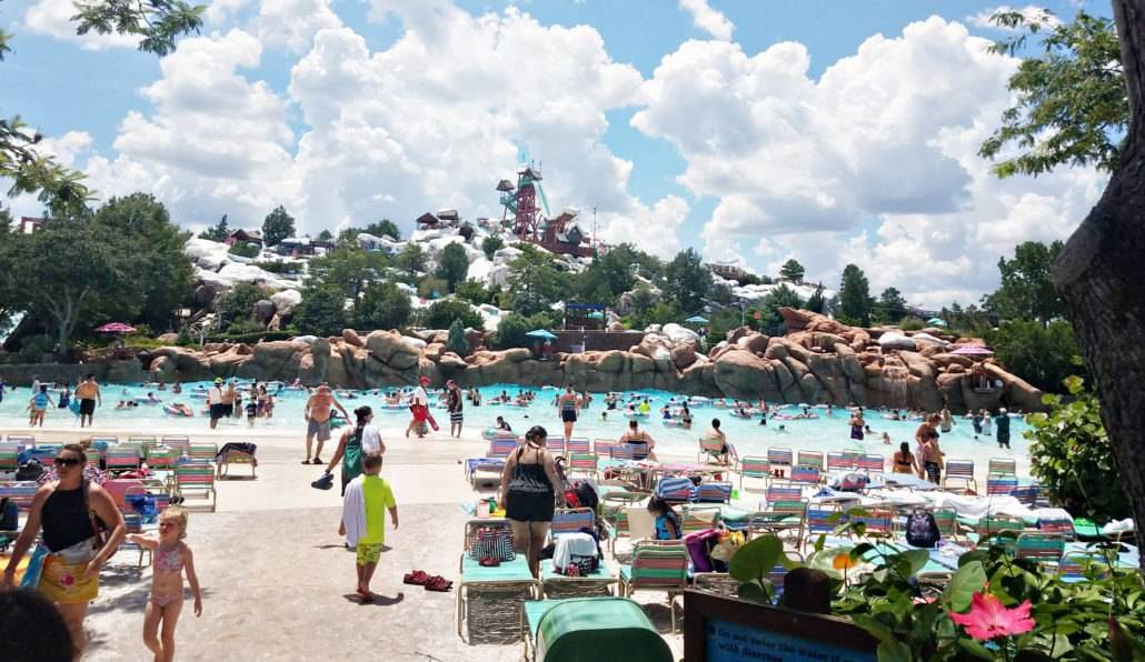 Crowded wave pool area at Blizzard Beach water park, Walt Disney World in Florida