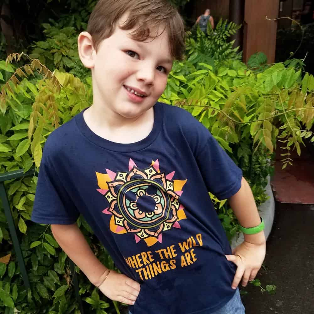 Little boy wearing hidden Mickey tee from Polka Dot Pixie shop