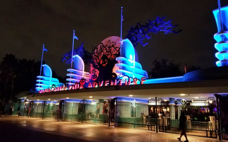 Entrance to Disney California Adventure park during Halloween Time