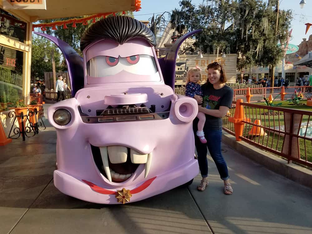 Mater from Cars Land dressed like a vampire for Halloween