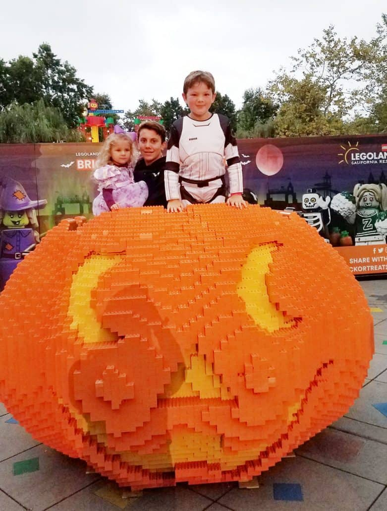 LEGOLAND Halloween Brick or Treat pumpkin photo op