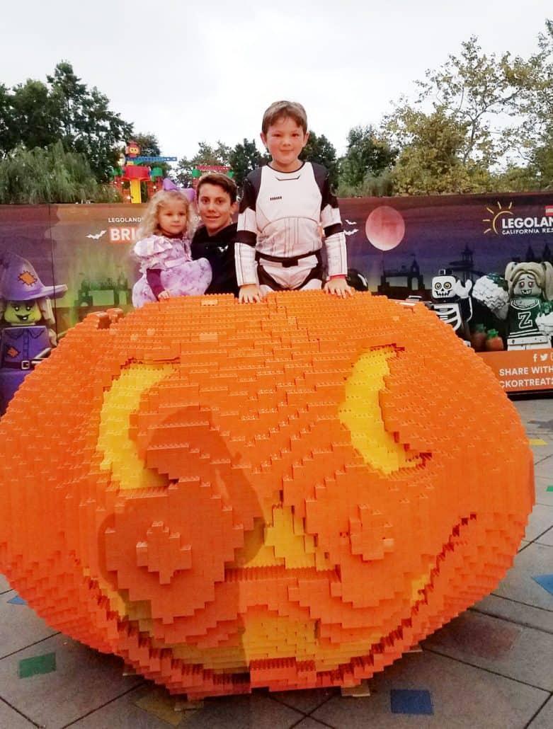LEGOLAND Halloween Brick or Treat pumpkin photo op