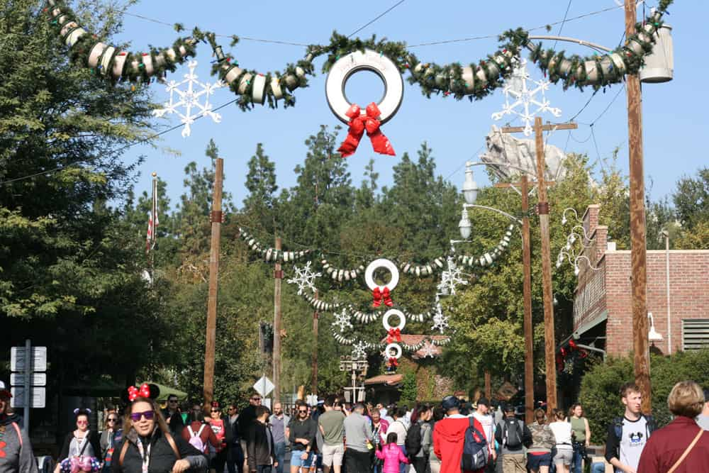 Cars Land decorated for the holiday season