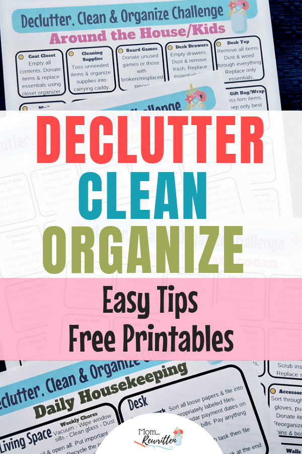 Looking for the best way to declutter, get organized and clean your home? These are easy decluttering tips with FREE printables to keep you on task! Find out how to declutter your desk, organize your kitchen, clear out kid stuff and have the cleanest bathroom. No need to get overwhelmed with housework with the practical advice and printable for daily housekeeping! #Organization #Housekeeping #Decluttering | Clean House | Organized House | Declutter Your Home