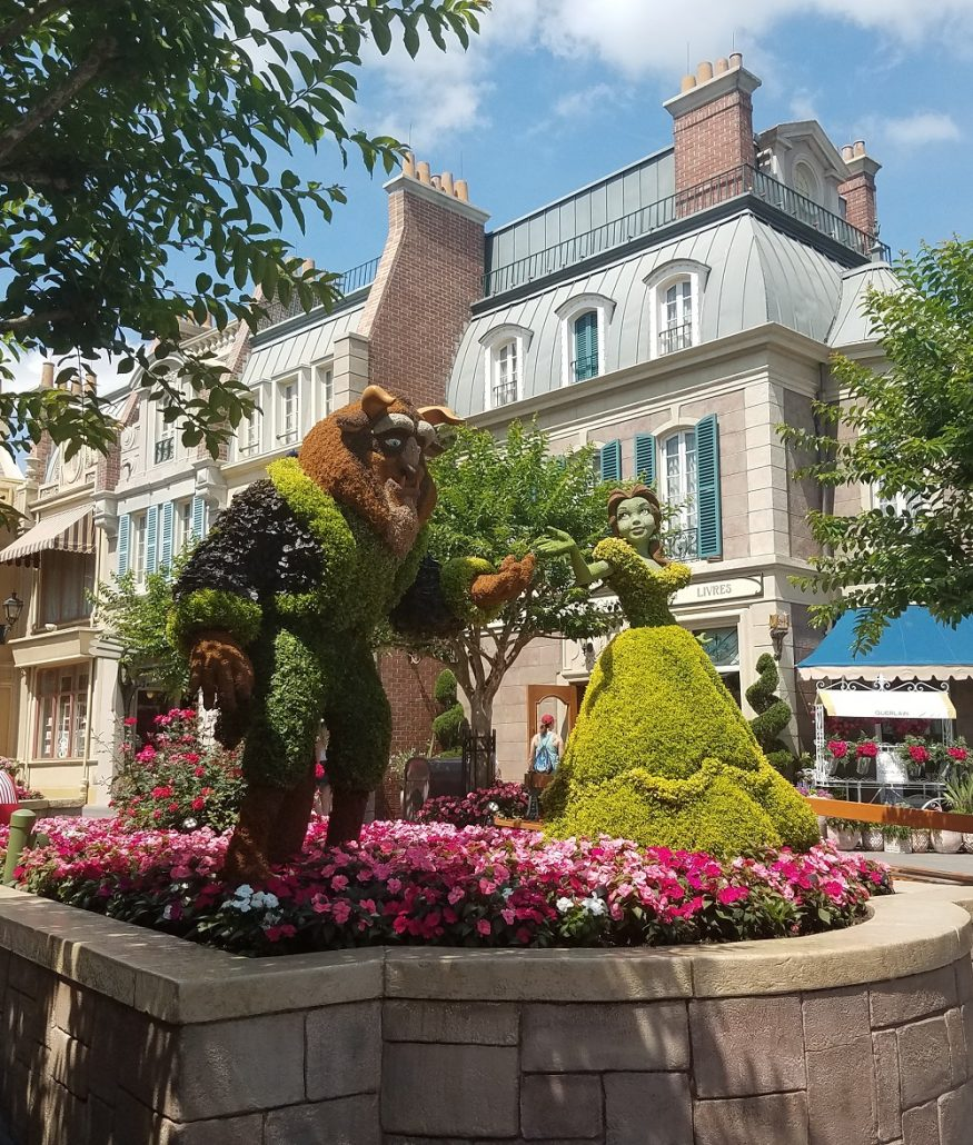 Beauty and the Beast topiaries at Epcot at Flower and Garden Festival