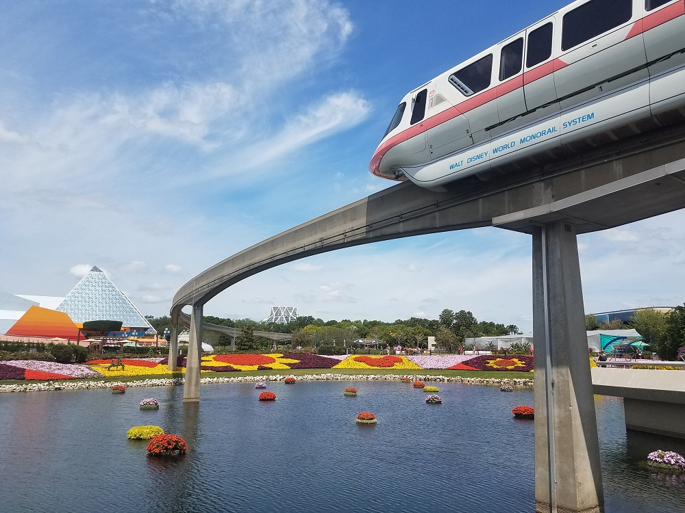 Monorail at Epcot Flower and Garden festival