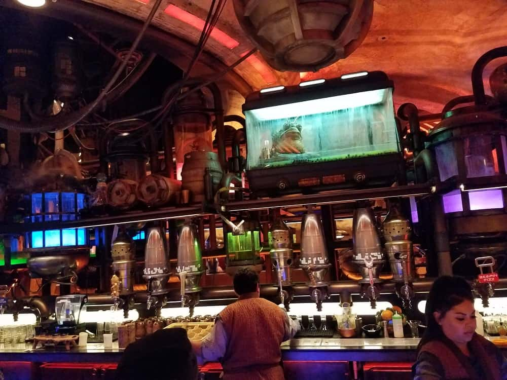 Inside Oga's Cantina in Star Wars: Galaxy's Edge in Disneyland