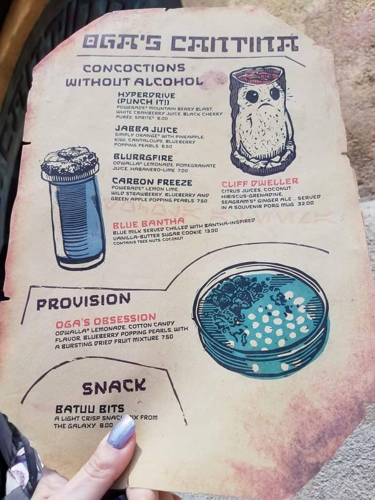 Oga's Cantina non-alcoholic menu