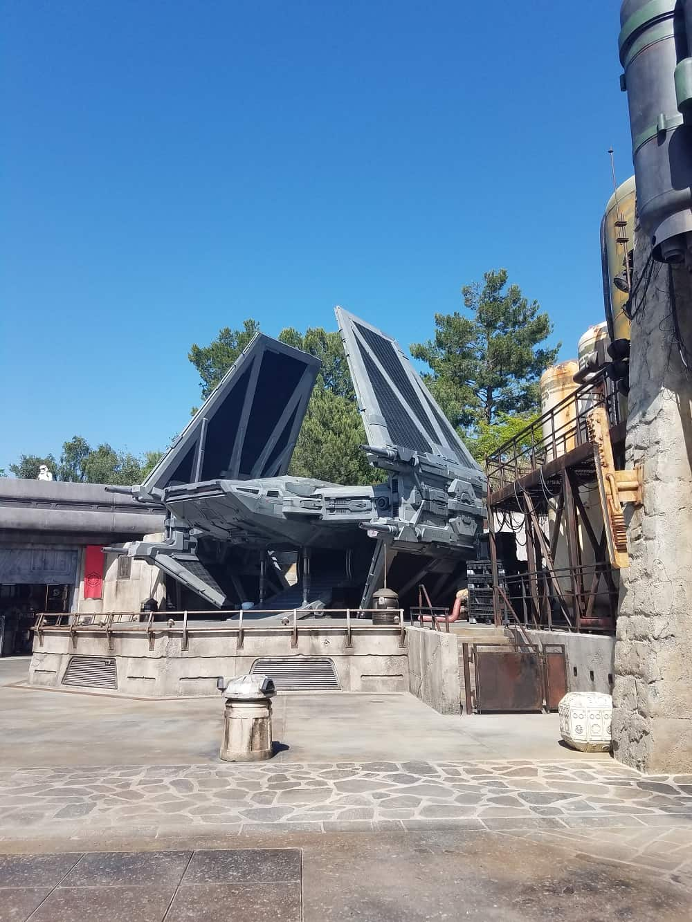 First Order TIE Fighter inside Star Wars: Galaxy's Edge at Disneyland