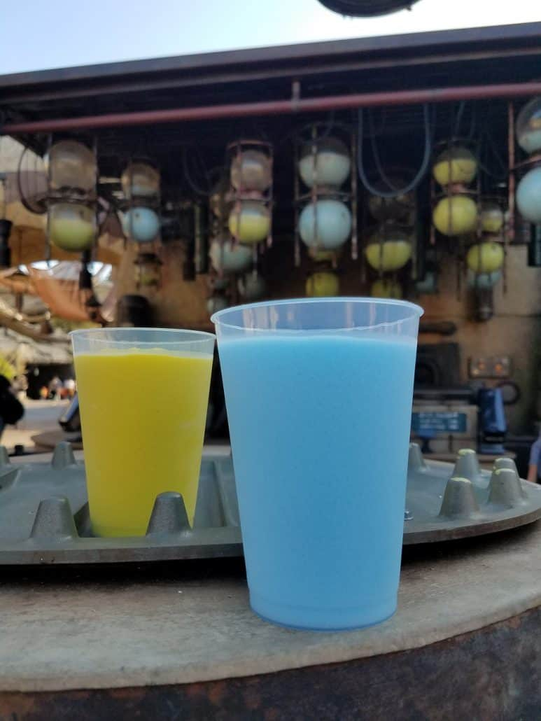 Star Wars: Galaxy's Edge Blue Milk and Green Milk at Disneyland