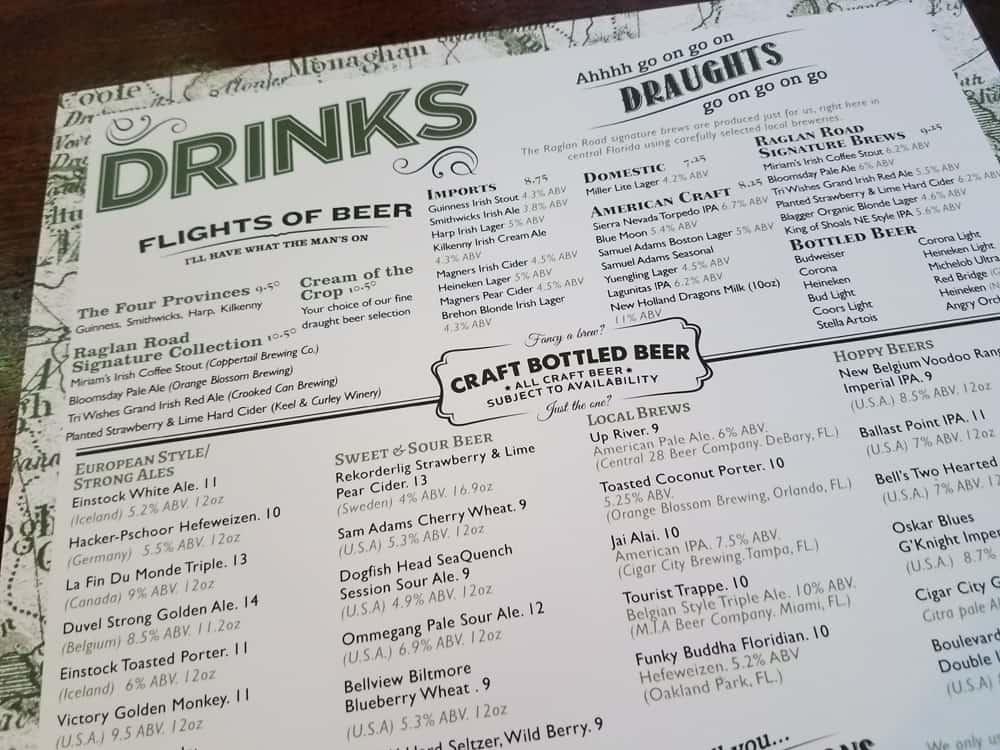 Brunch drink menu at Raglan Road