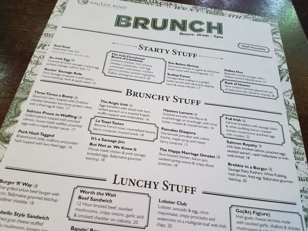 Raglan Road Disney Springs Rollicking Raglan Brunch menu
