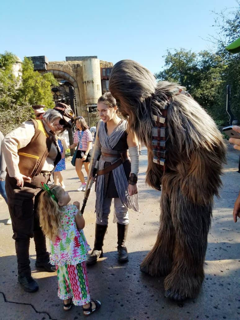 Little girl scared of Chewbacca at Disneyland
