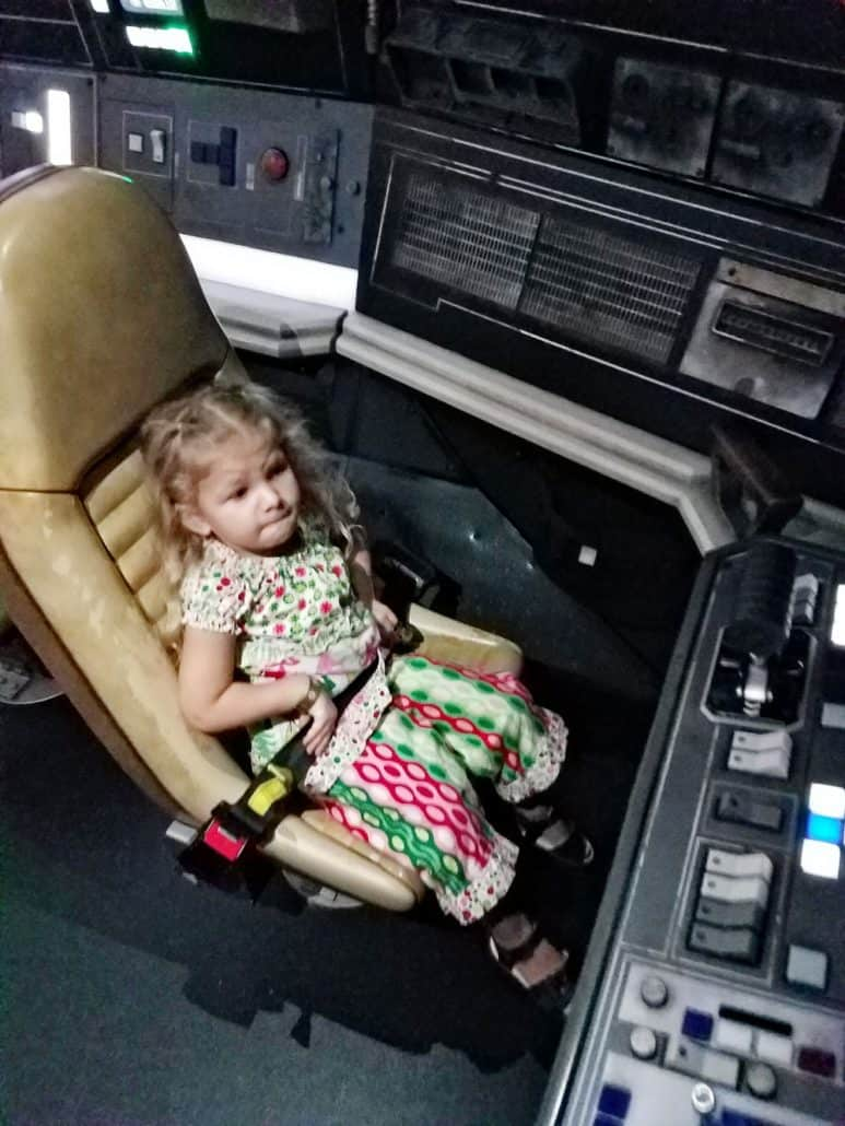 Little girl at Disneyland Star Wars Millennium Falcon ride