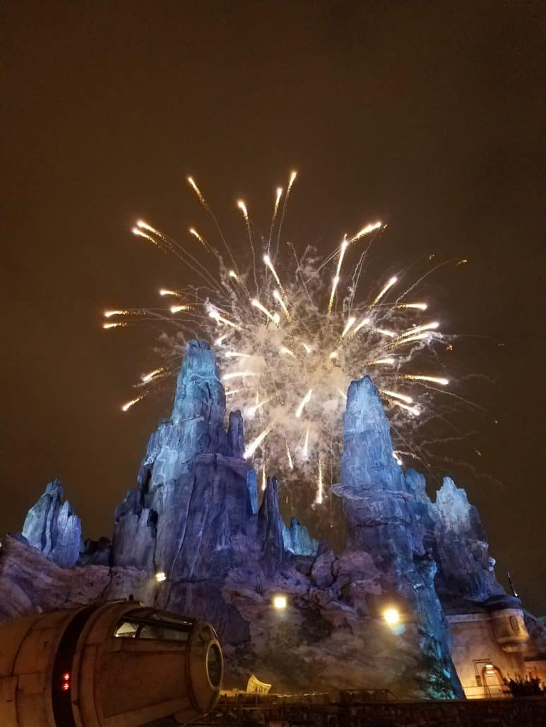 Fireworks in Star Wars Galaxy's edge at Disneyland