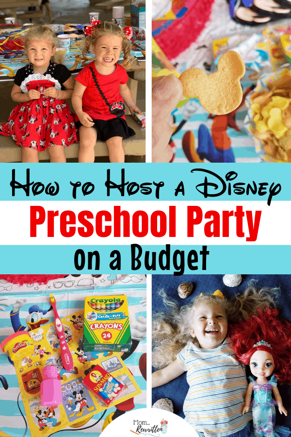 A Disney party for preschoolers doesn't have to break the budget! These are the top tips for saving money when hosting a Disney preschool party for a play date or birthday including what to eat, decoration ideas and goody bags. #MomRewritten #NowMoreThanEver #Parties #Preschool | Party Planning | Party on a Budget