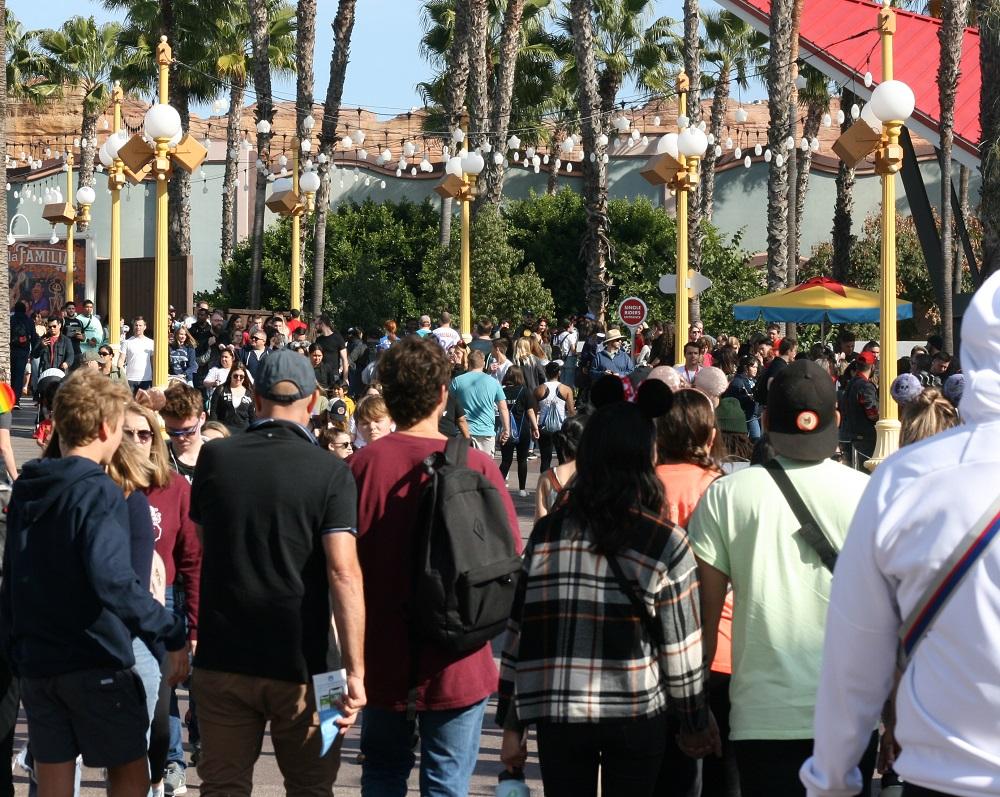 crowds at Disney California adventure park pixar pier
