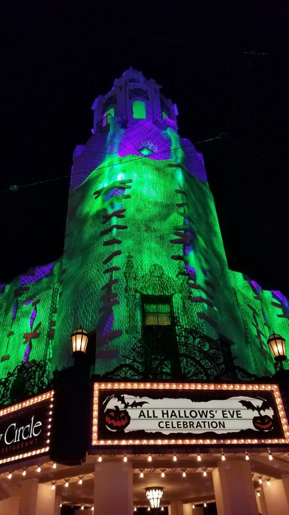 Oogie Boogie Bash Halloween party Carthay Circle projections