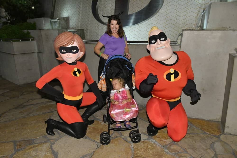 Sleeping child with Incredibles at Oogie Boogie Bash Halloween party