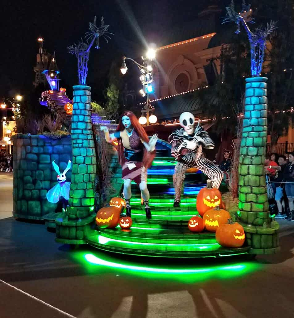 Jack and Sally at Mickey and Minnie at Oogie Boogie Bash Frightfully Fun Parade