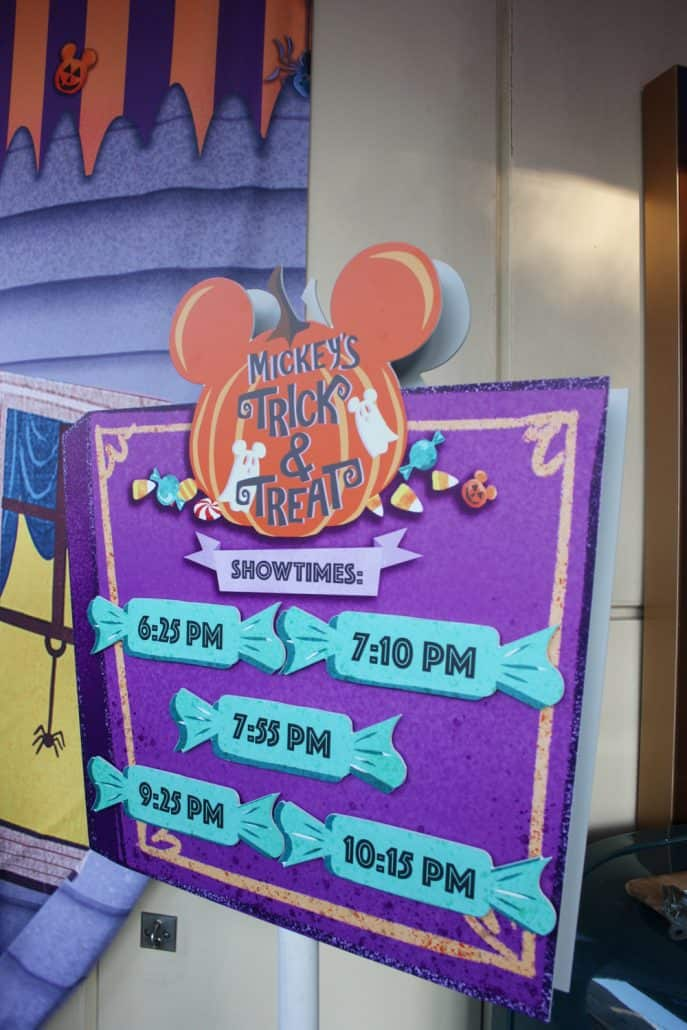 Show times for Mickey's Trick and Treat show at Oogie Boogie Bash