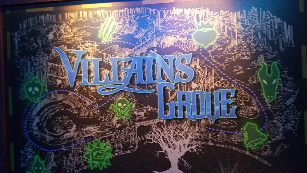 Sign for Villain's Grove at Oogie Boogie Bash Halloween party