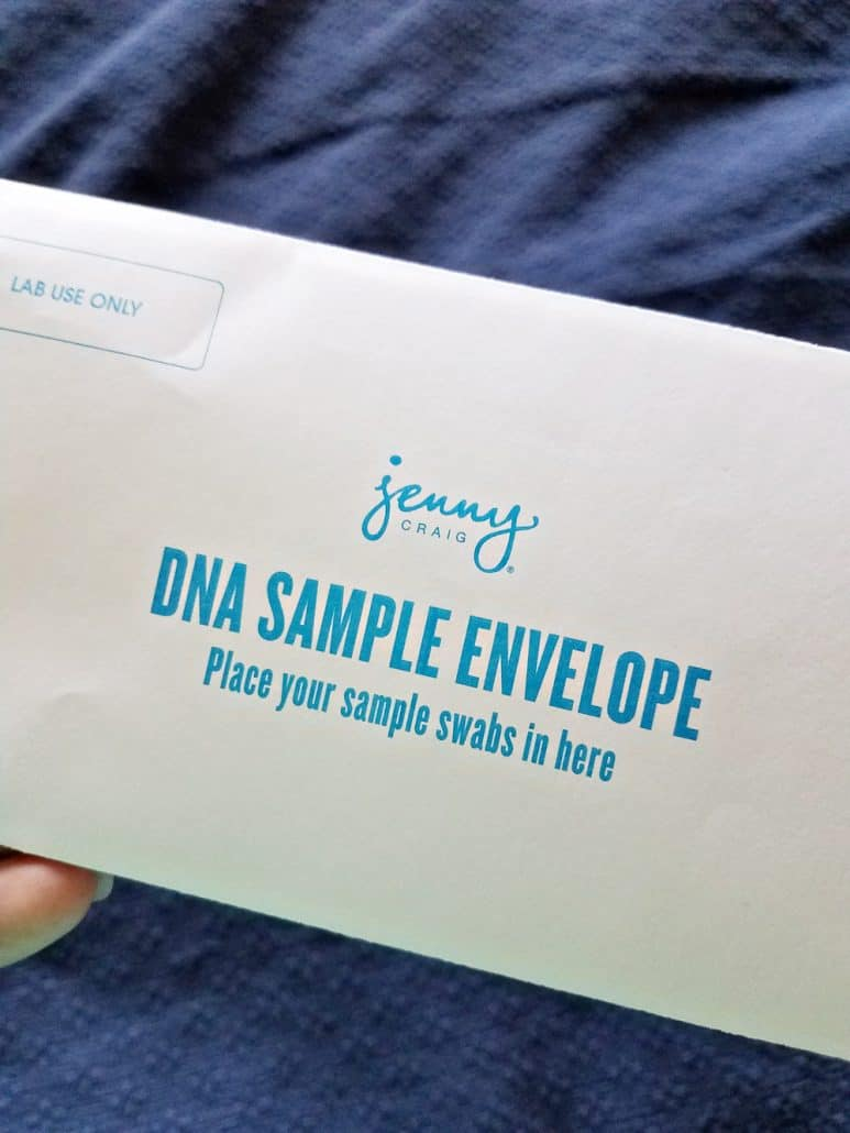 Jenny Craig DNA Decoder sample swab return envelope