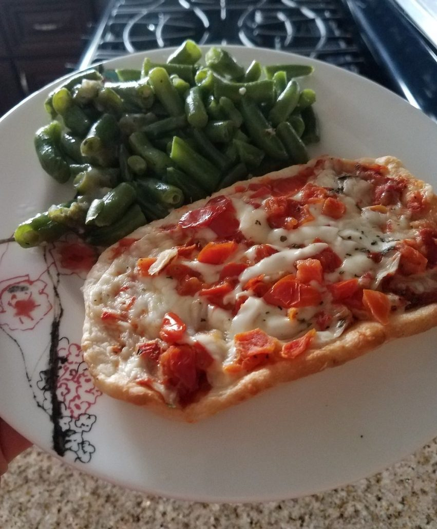 Jenny Craig Pepperoni Pizza with green beans