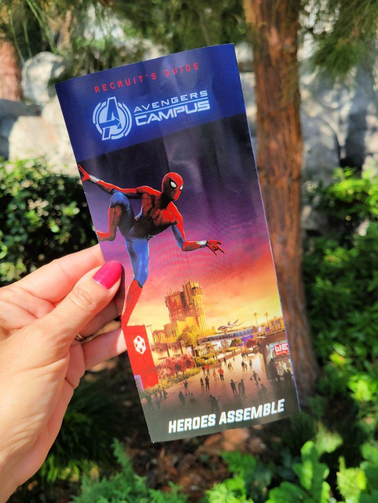 Disney California Adventure park map featuring Spider-Man