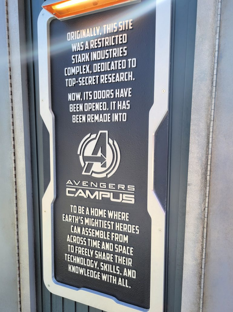 Avengers Campus signage and storyline