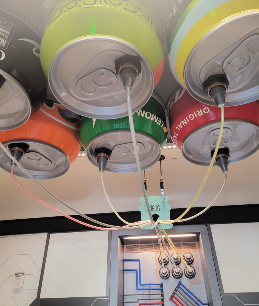 Oversized soda cans overhead in Pym Test Kitchen