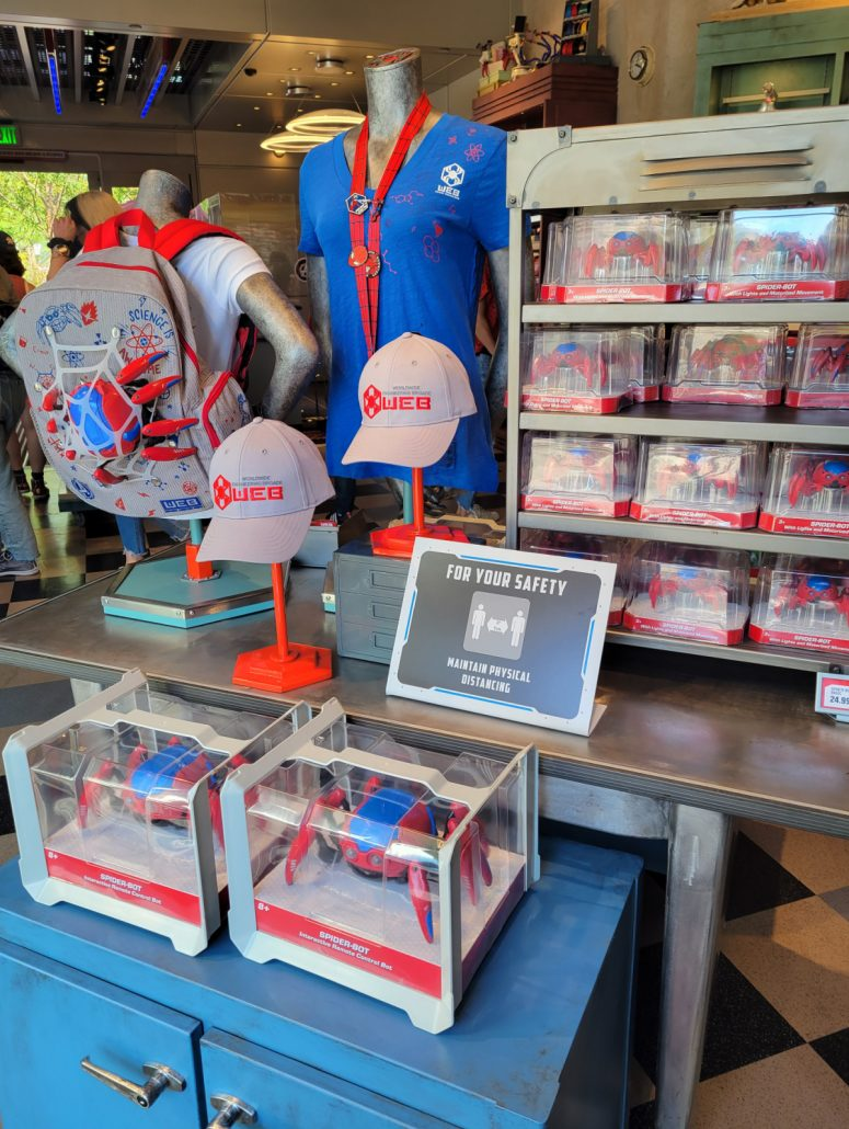 Merchandise and Spider-Bot toys in WEB Suppliers
