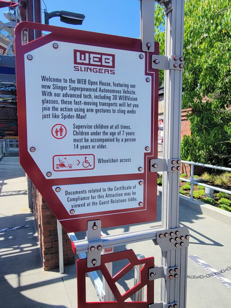 Entry sign with directions for WEB SLINGERS