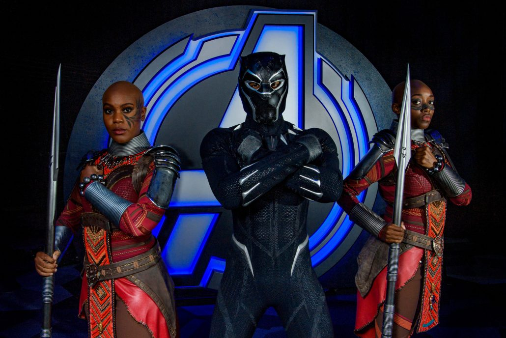 Black Panther characters at Avengers Campus