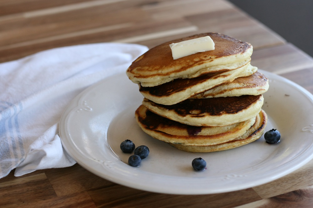 fluffy pancakes with blueberries
