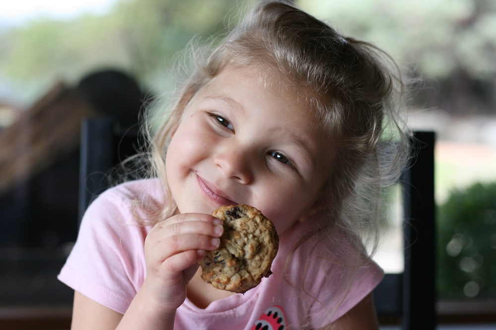 Little girl eating a cookie at the table