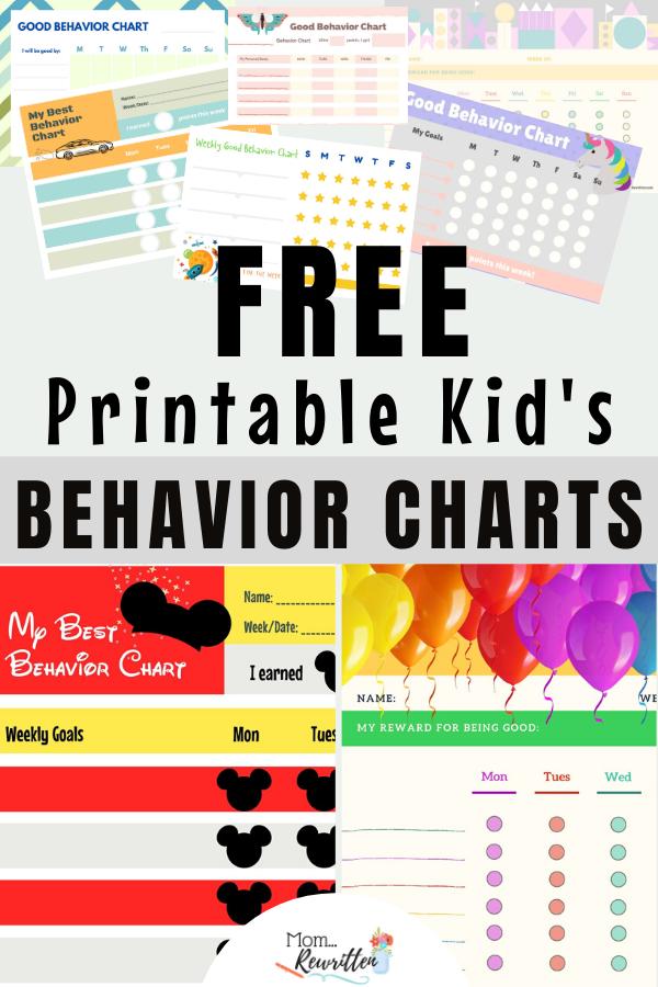 9 Free Printable Behavior Charts For Kids
