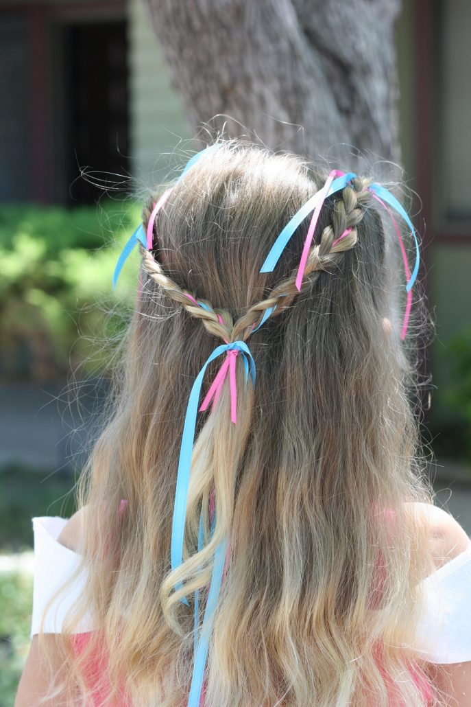DIY Bibbidi Bobbidi Boutique braided ribbon hairstyle