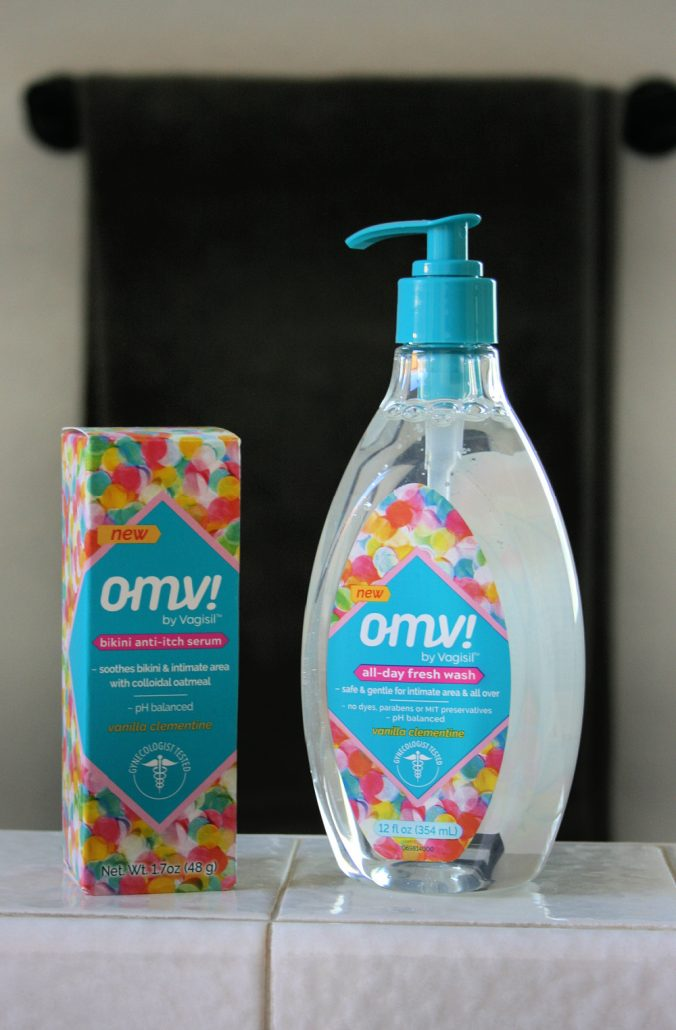 Bottles of OMV cleanser on bathroom counter