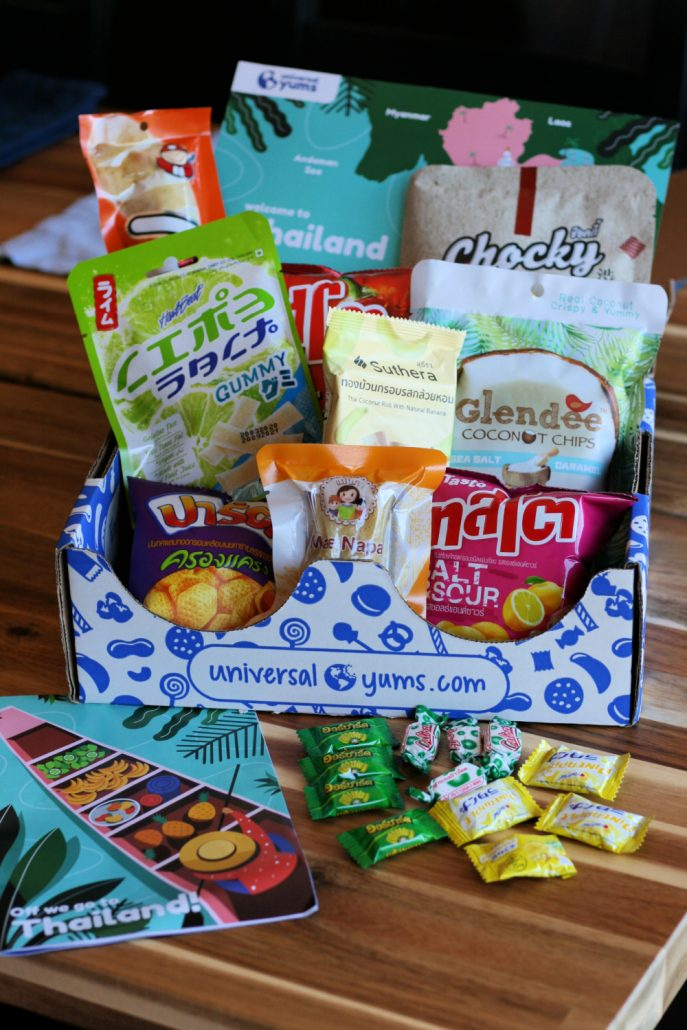 Snack contents of Universal Yums snack box from Thailand