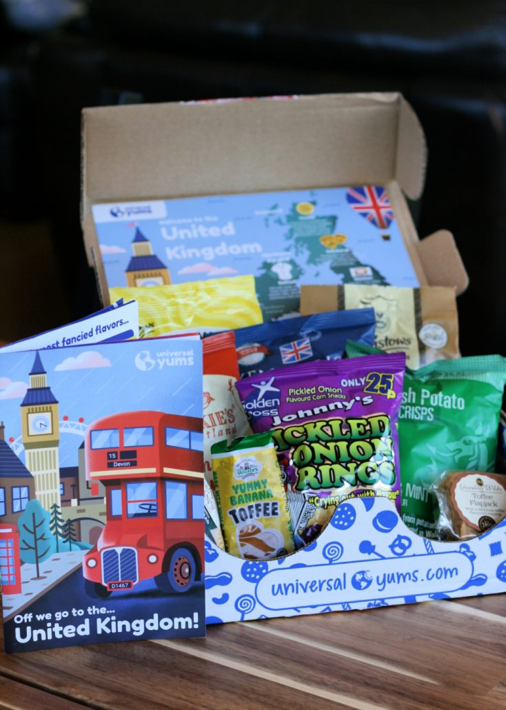 Universal Yums box of United Kingdom snacks