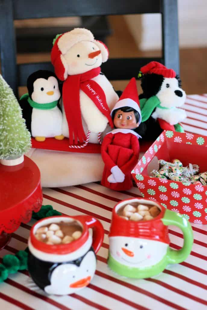 Christmas table top set for the holidays with Elf on the Shelf