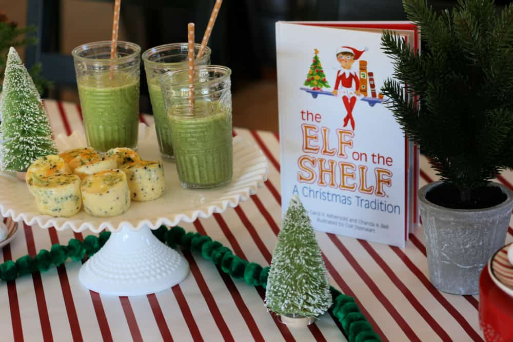 Elf on the Shelf book next to brunch foods