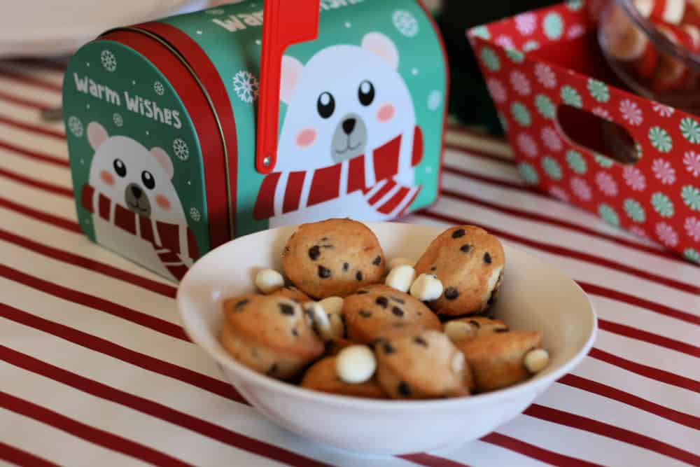 Chocolate chip mini muffins in a bowl with yogurt raisins