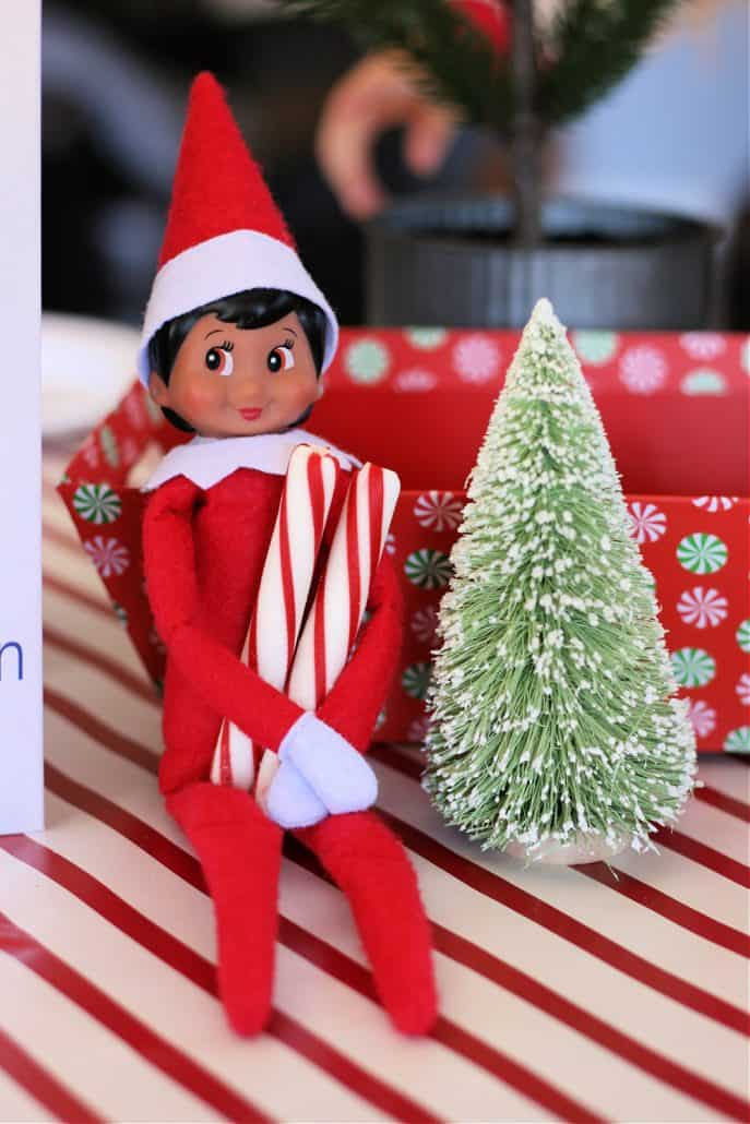 Elf on the Shelf holding two peppermint sticks