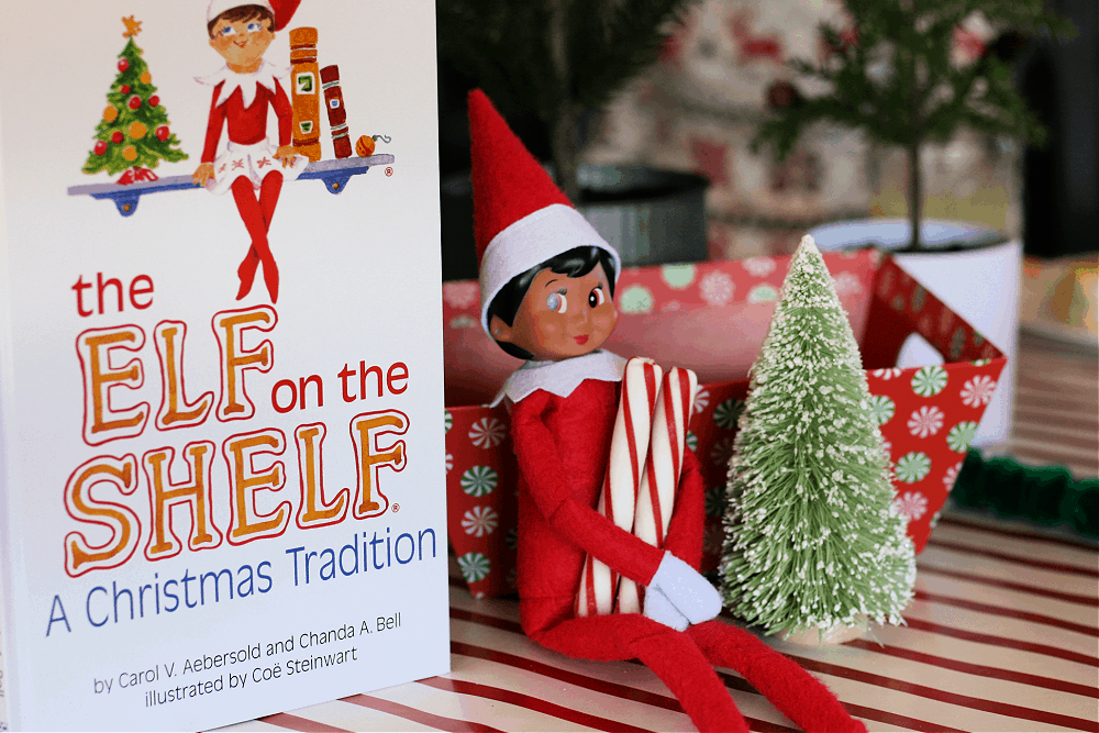 Girl Elf on the Shelf sitting next to the book