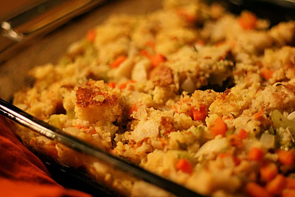 Close up of homemade stuffing in a casserole dish