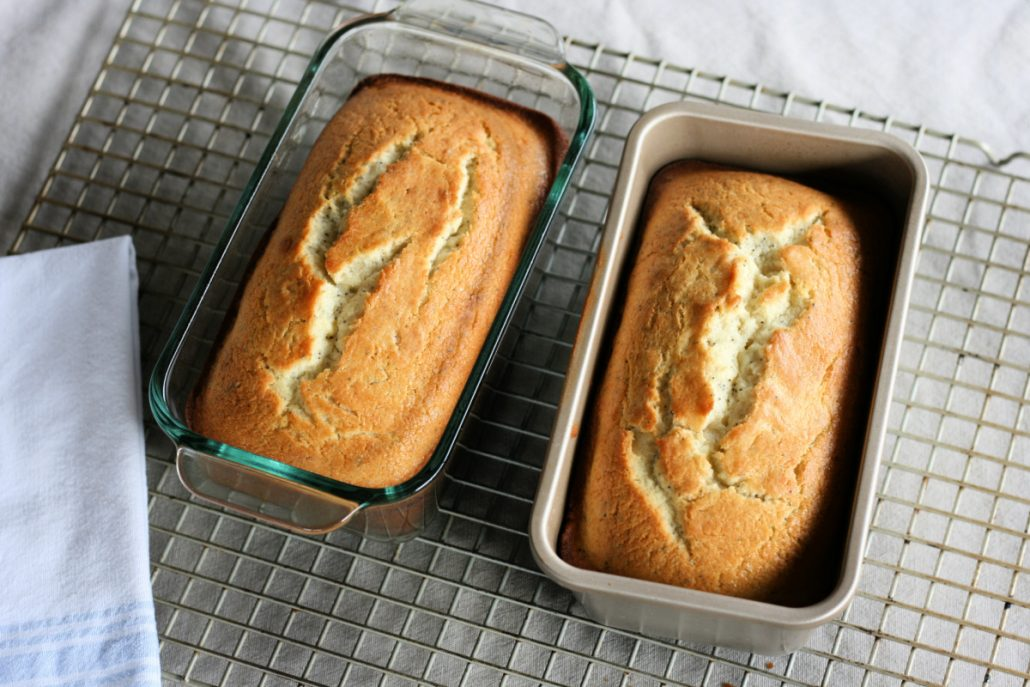 Overhead image of two loaves poppy seed bread inside baking pans