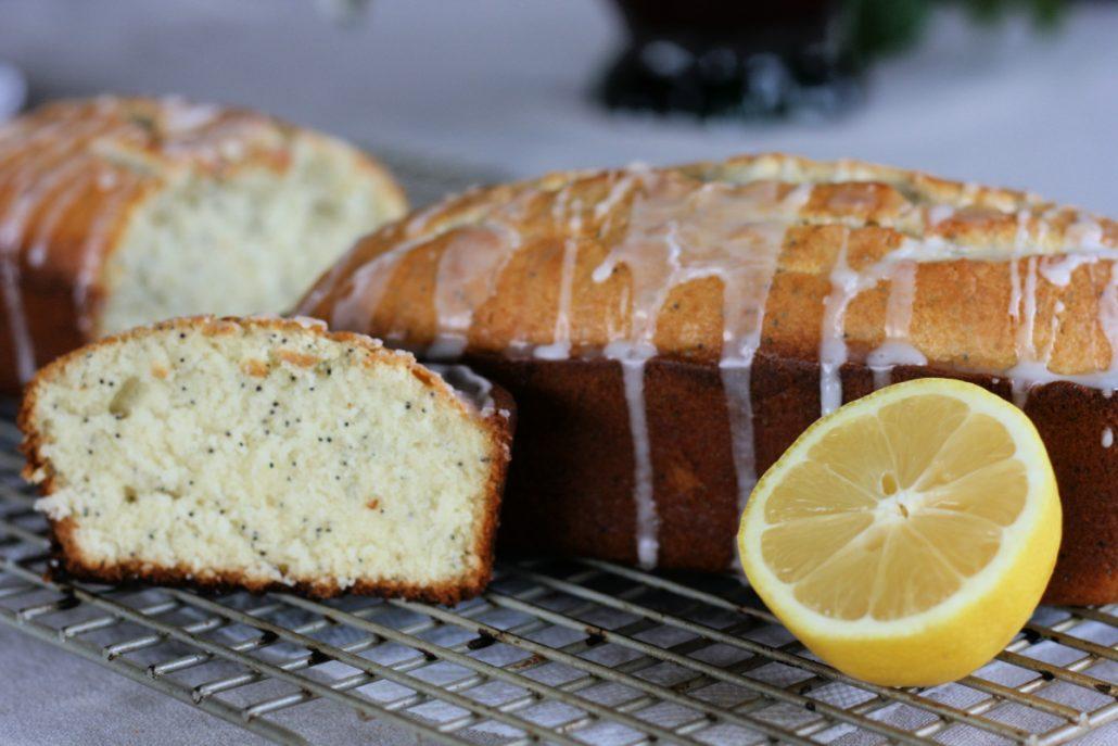 Close up of poppy seed bread with lemon glaze